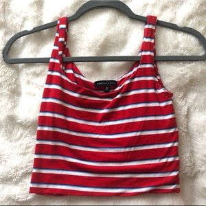 Kendall & Kylie Red White and Blue Crop Top